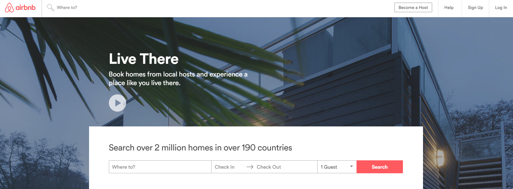 Airbnb canadian homepage