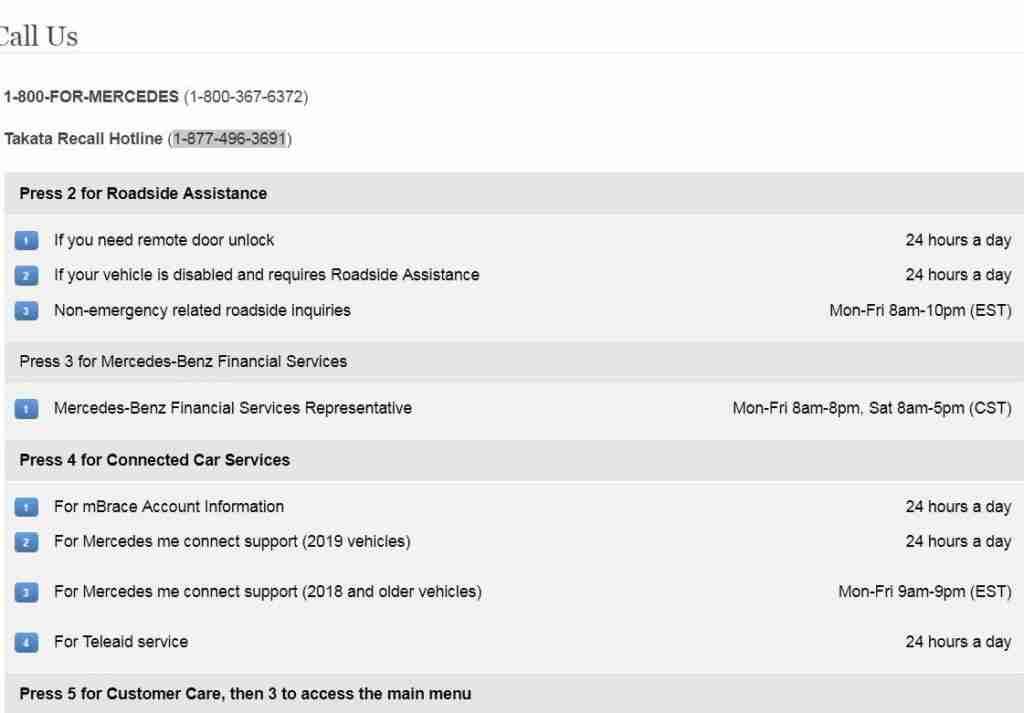 Mercedes-Benz call support