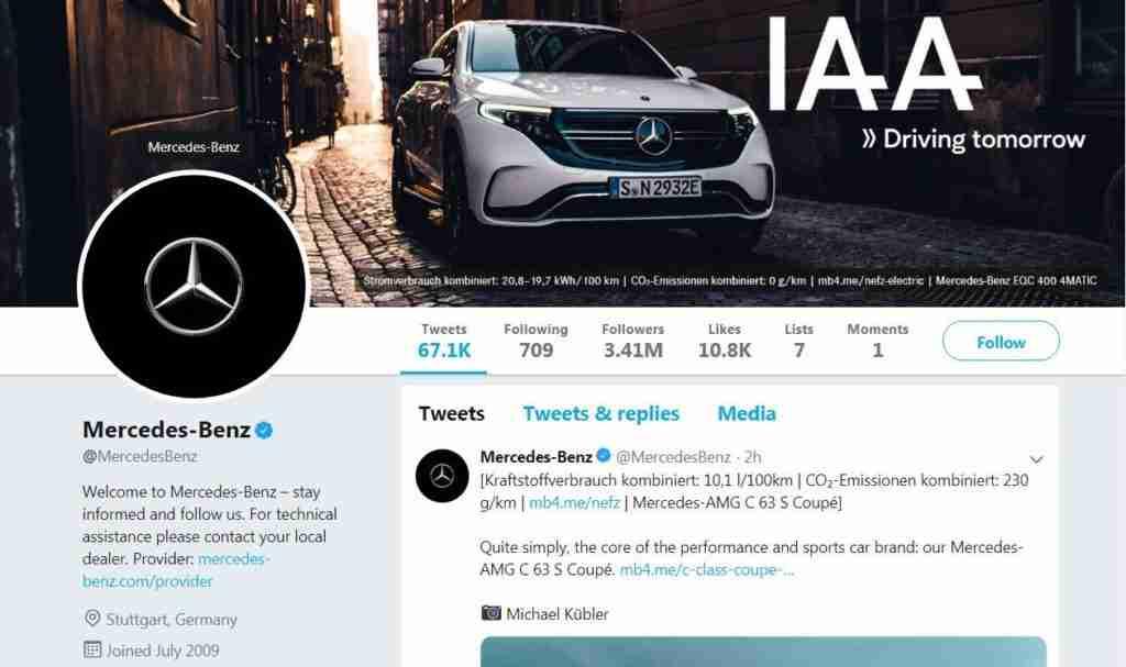 Mercedes Twitter handle