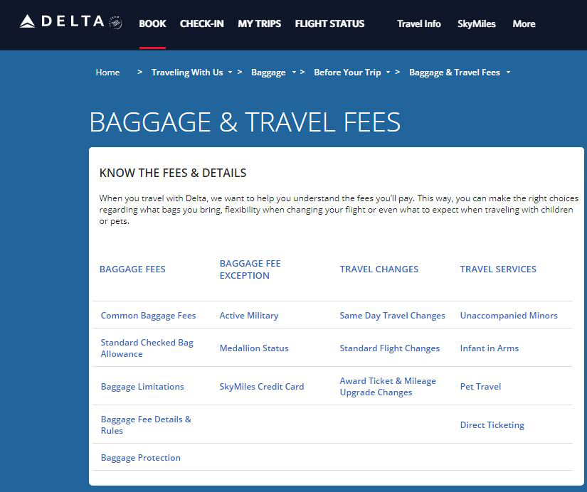 Baggage and Travel Fees
