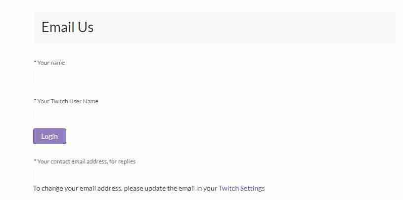 The Twitch email support page
