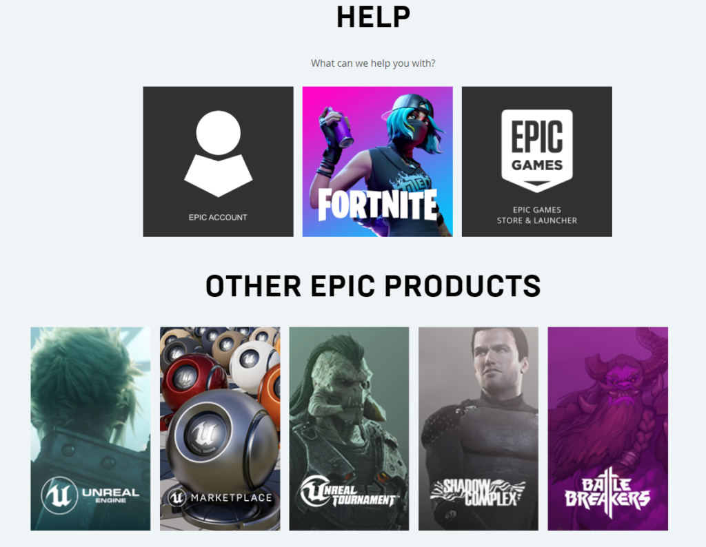 Epic Games Help Section