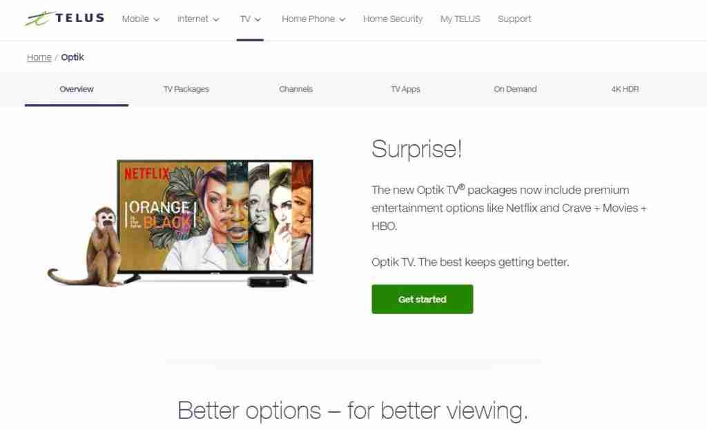 Telus Optik TV customer service