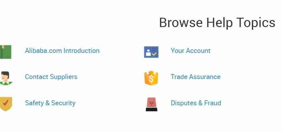 Browse Help Topics at Alibaba