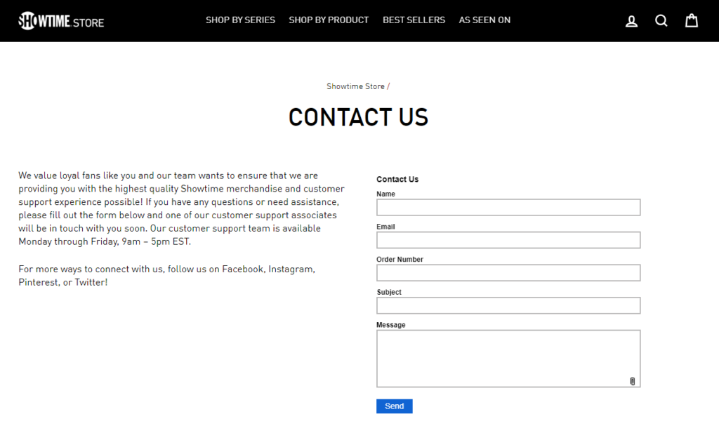 showtime store contact