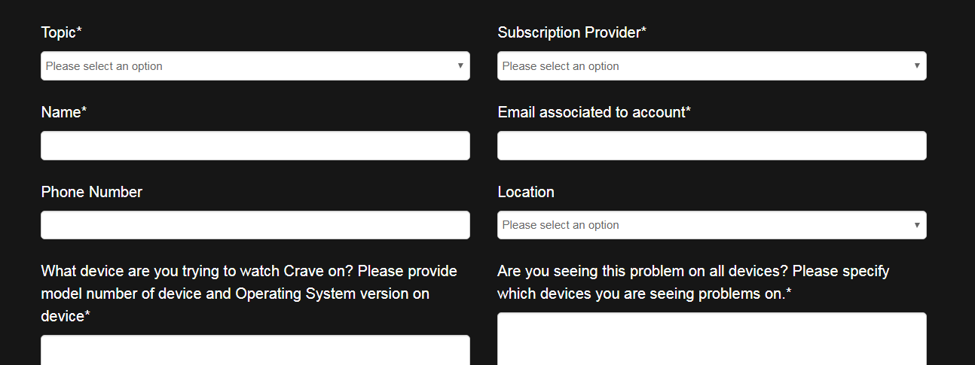 crave tv contact form