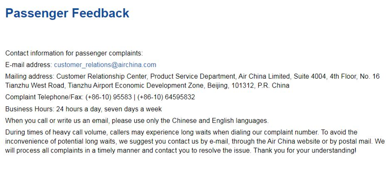 feedback and complaints airchina