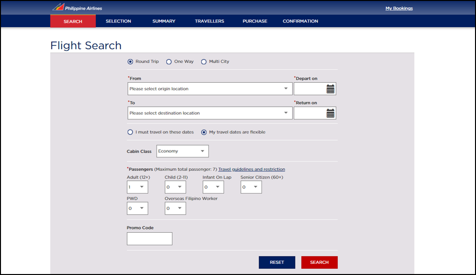 philippines airlines flight search