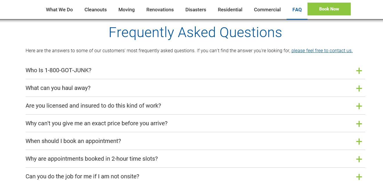 1-800-Got-Junk's? FAQs Page