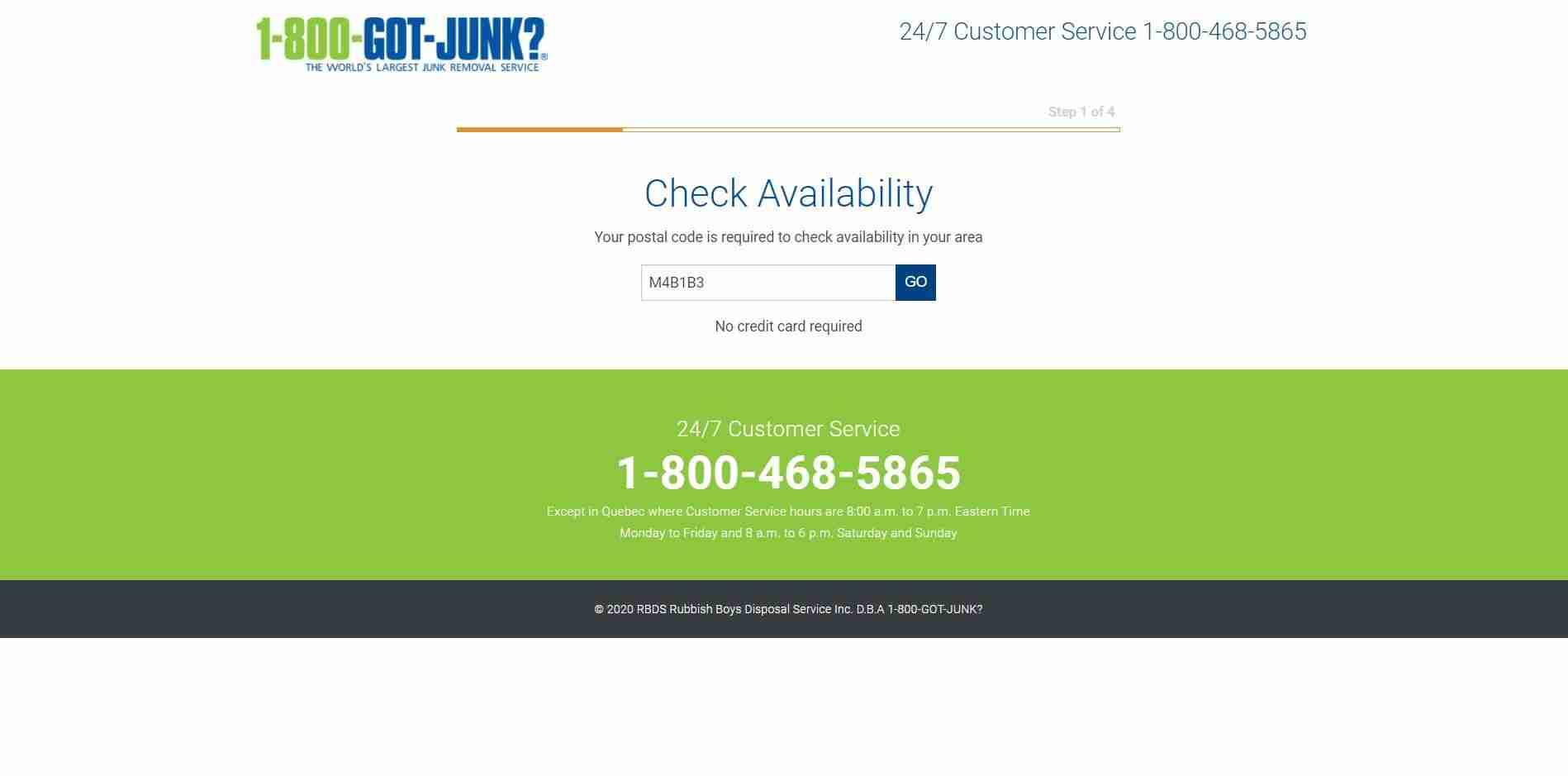 1-800-Got-Junk's? Online Booking Form