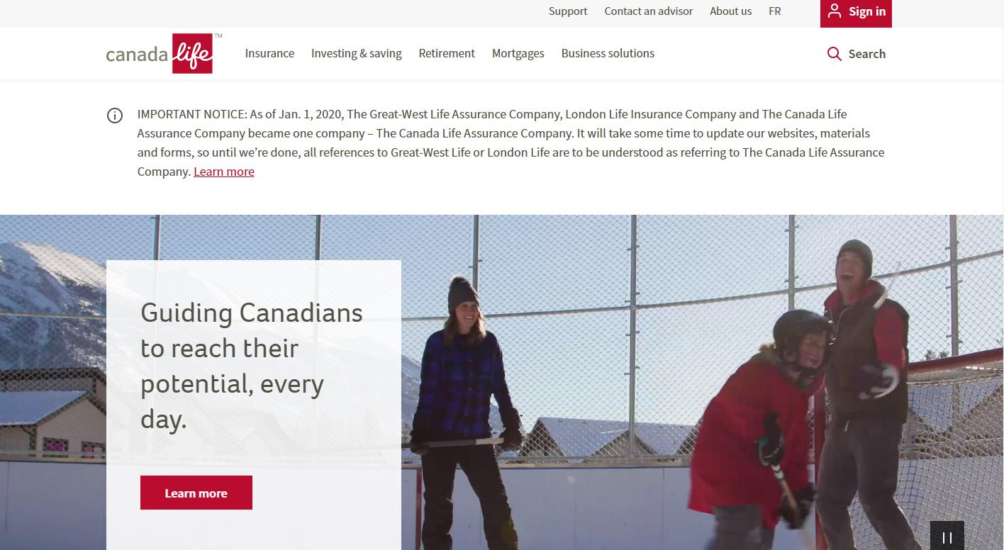 Canada Life Co website