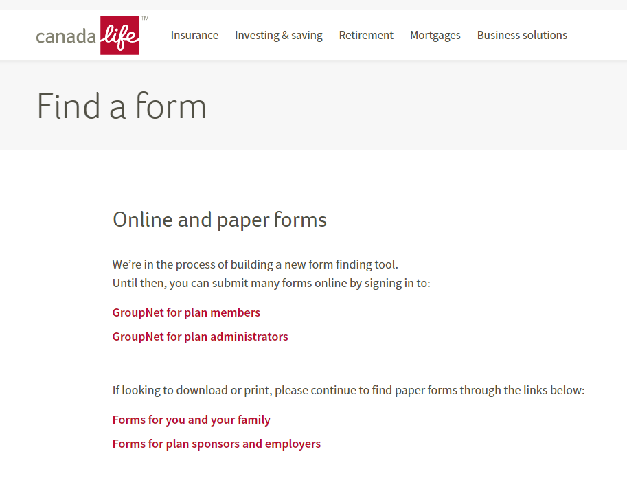 canada life online and paper forms