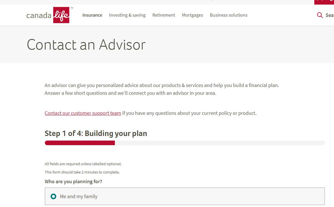 Canada Life Co 'Contact an Advisor'