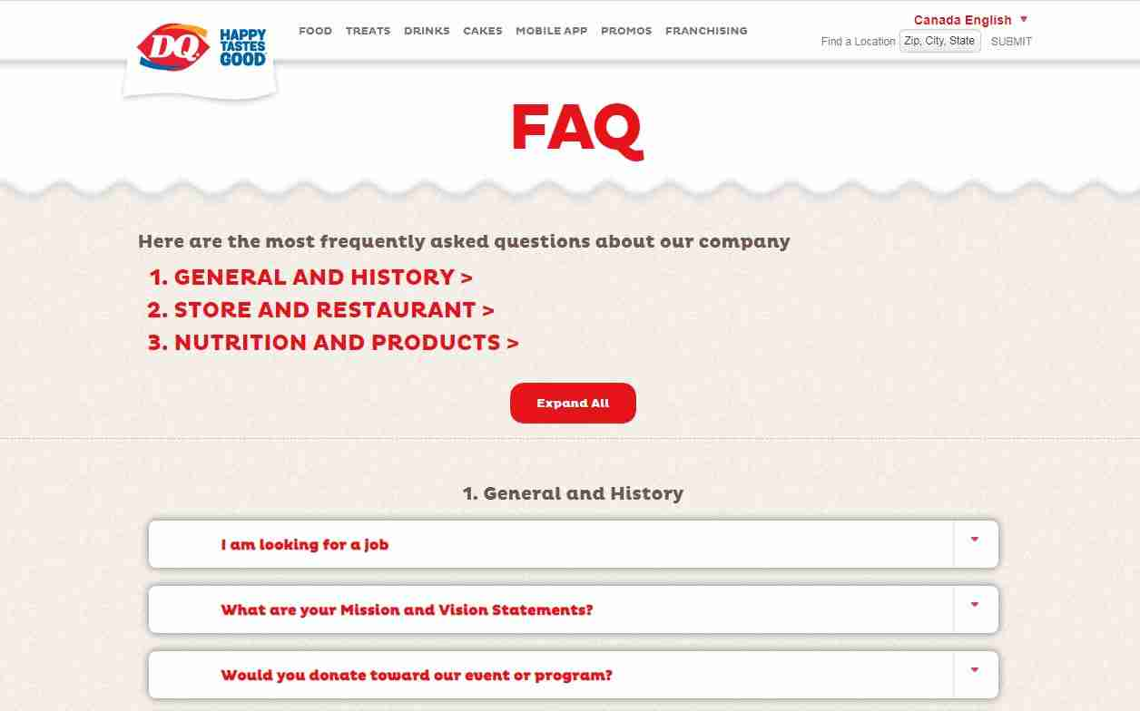 FAQs Page of Dairy Queen