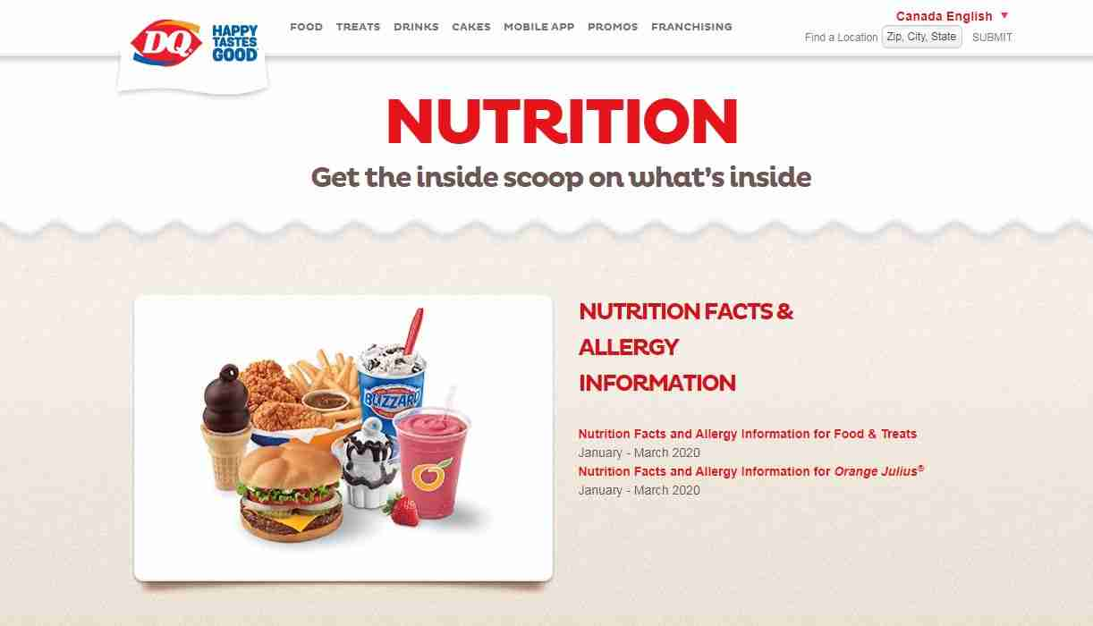 Nutrition Page of Dairy Queen