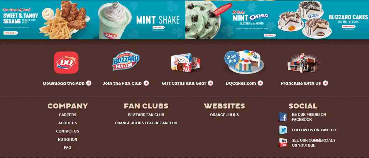 Customer Support Service Page of Dairy Queen