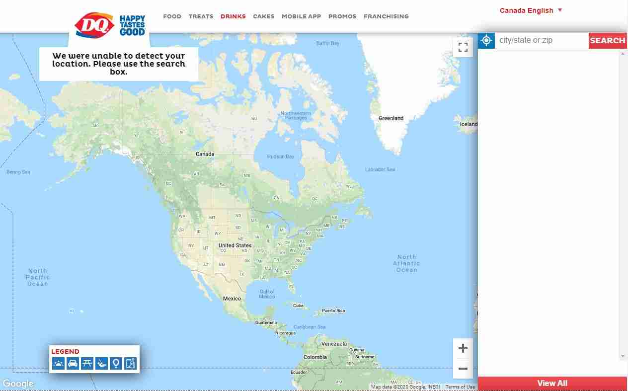 Store Locator Page of Dairy Queen