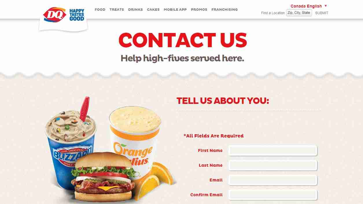 Contact Us Page of Dairy Queen