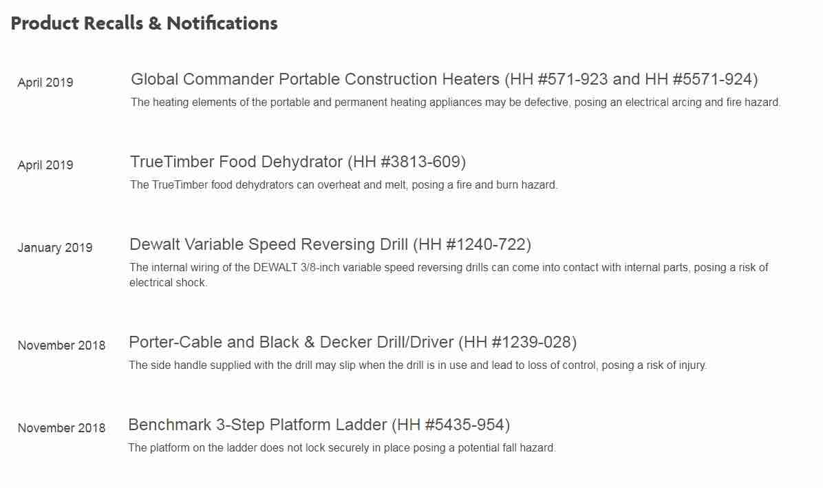 Product Recall notification on Home Hardware website