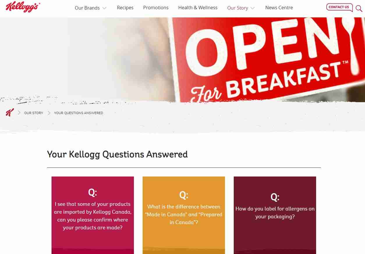 FAQs Page of Kellogg