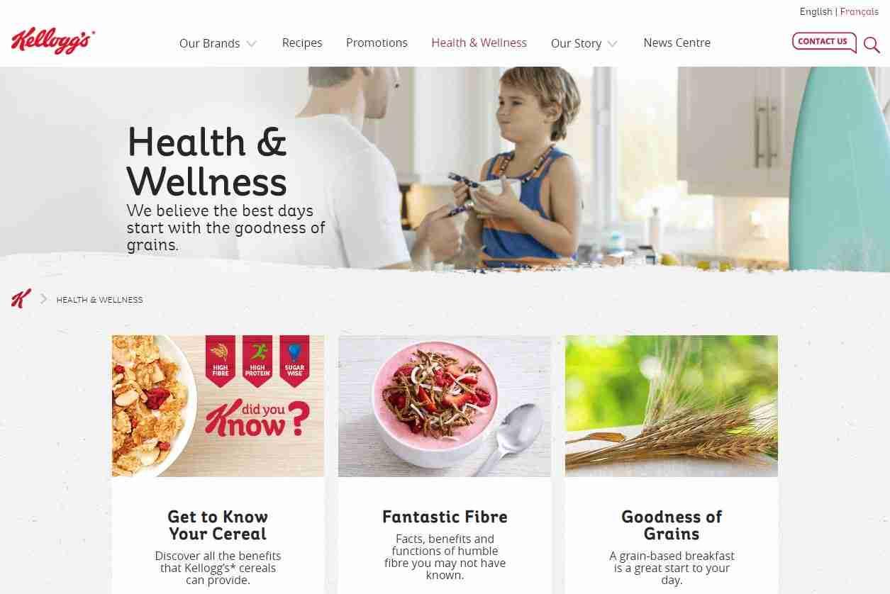 Health & Wellness Page of Kellogg's