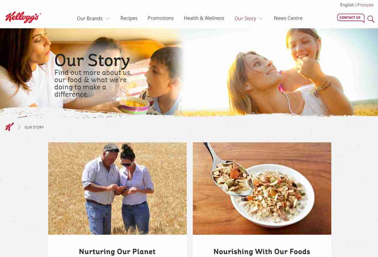 About Us Page of Kellogg's