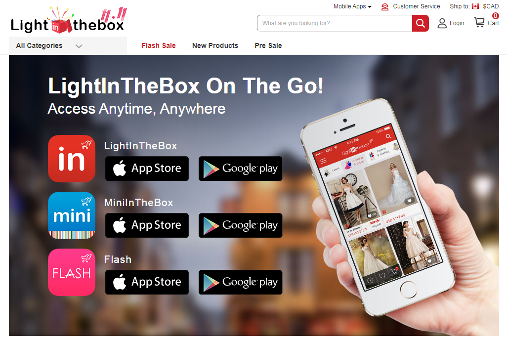 Light in the Box apps for android and iPhone