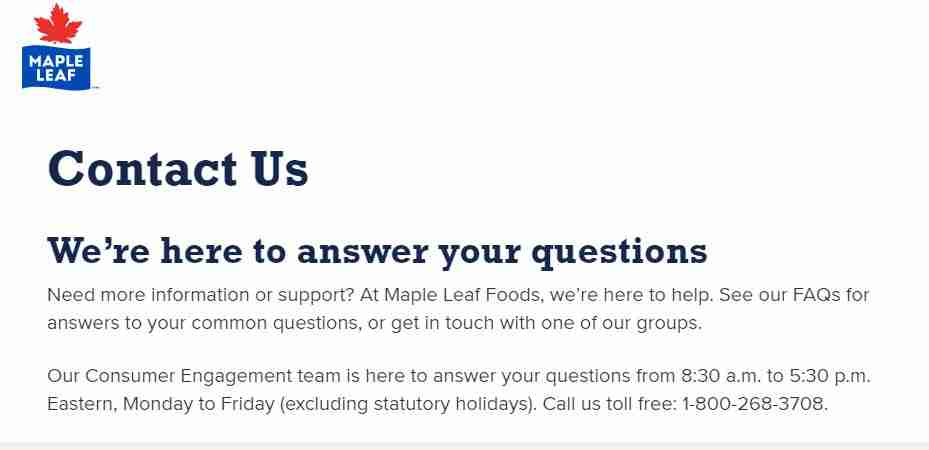 Maple leaf Foods Call support