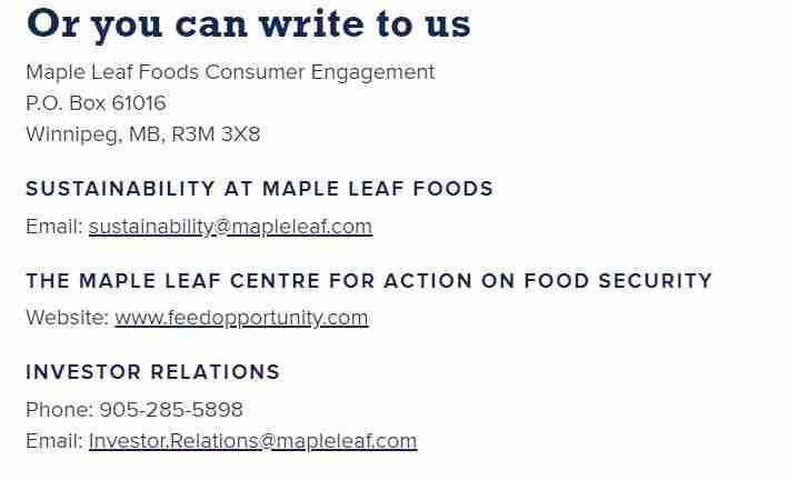 Send an e-mail to Maple leaf Foods