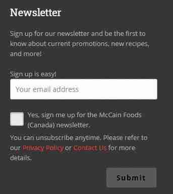 Newsletter Signup Column of McCain