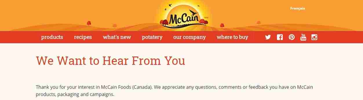 Customer Support Service Page of McCain