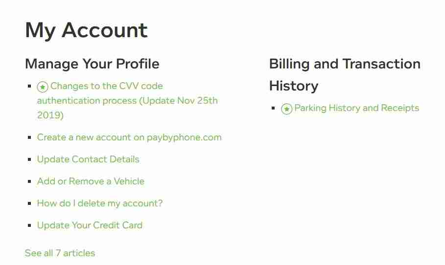 PayByPhone Manage your Profile