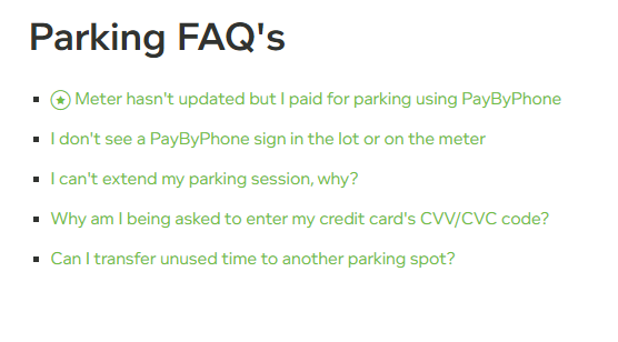 PayByPhone Parking questions