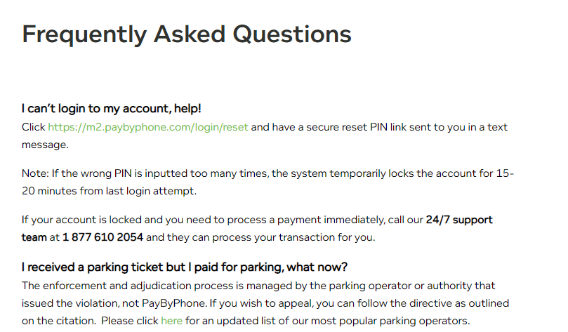 PayByPhone FAQs