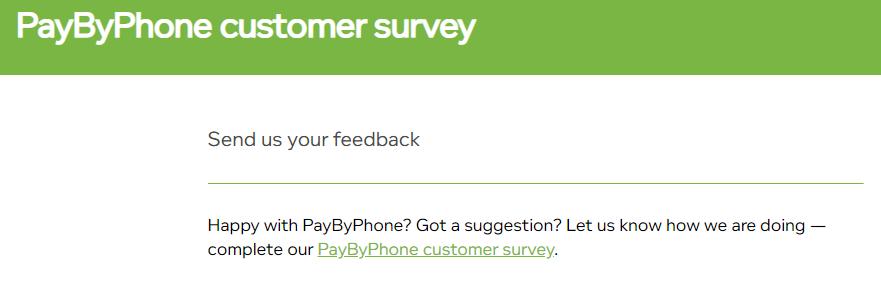 PayByPhone Customer Service Feedback
