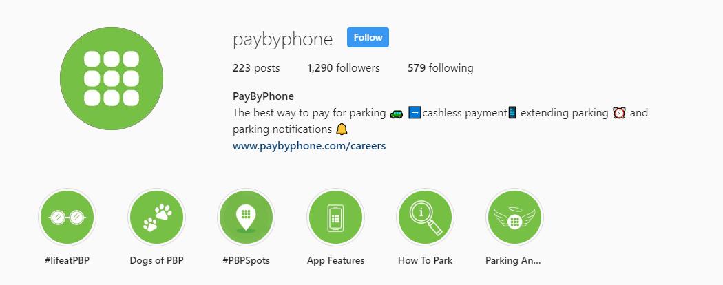 PayByPhone Instagram