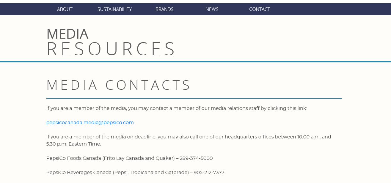 PepsiCo's Media Contact Page