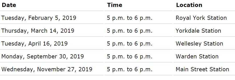 TTC meet the manager schedule and calendar