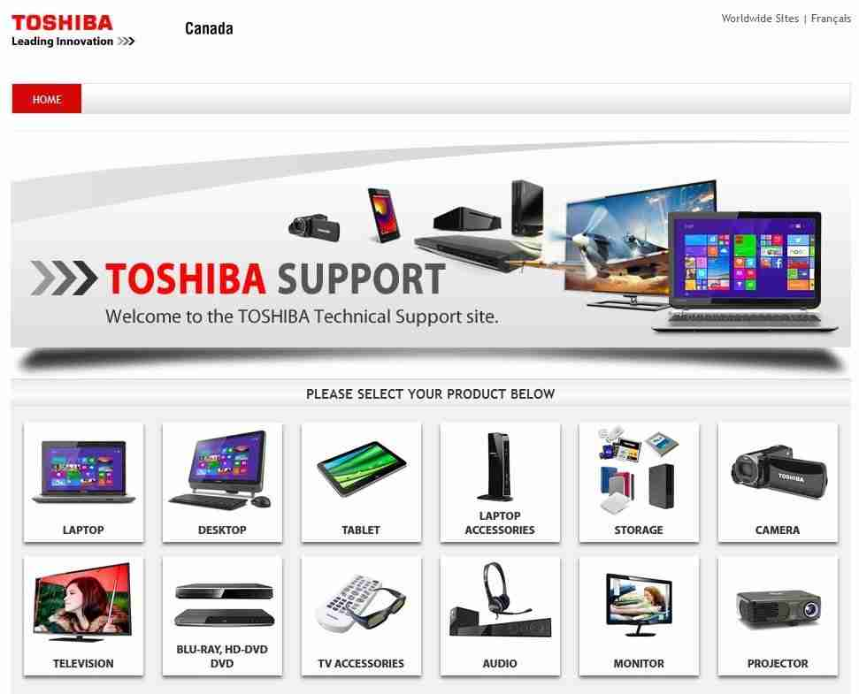 toshiba support page