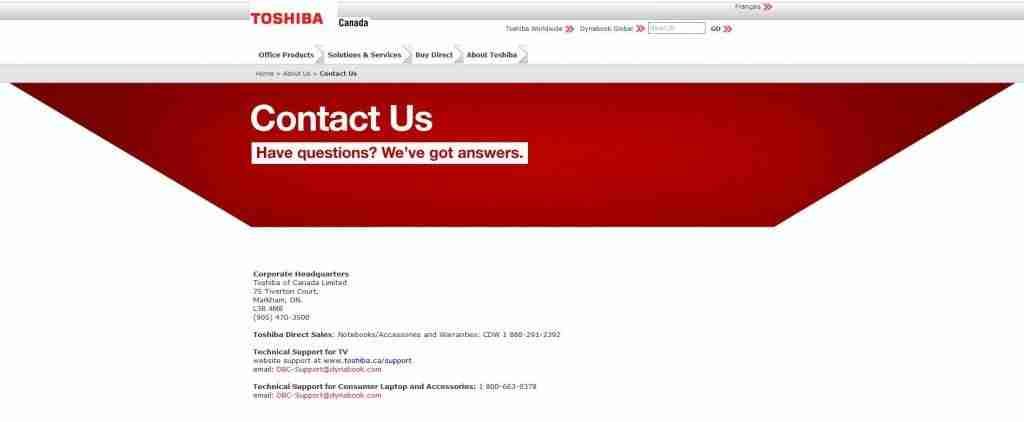 toshiba email support