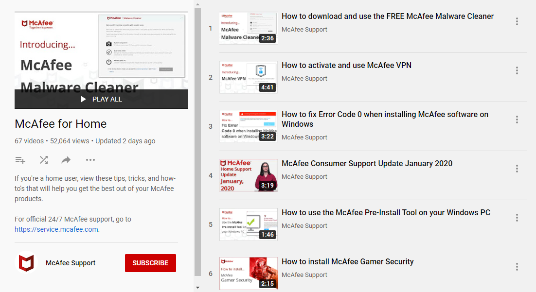 mcafee-youtube-page